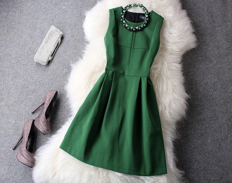 クラシックスタイル緑ワンピース