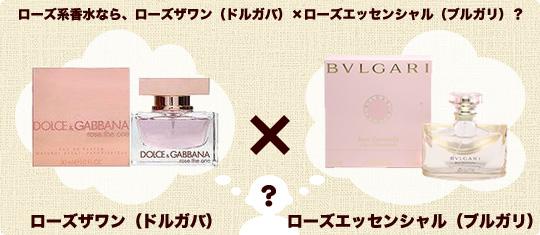 ローズ系香水なら、ローズザワン(ドルガバ)×ローズエッセンシャル(ブルガリ)?