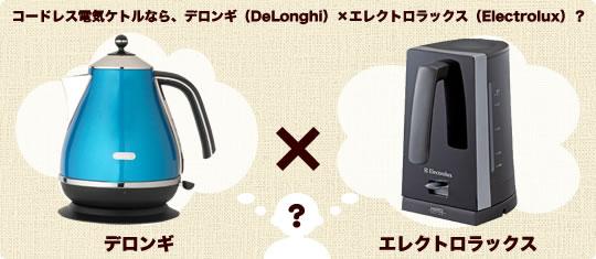 コードレス電気ケトルなら、デロンギ(DeLonghi)×エレクトロラックス(Electrolux)?